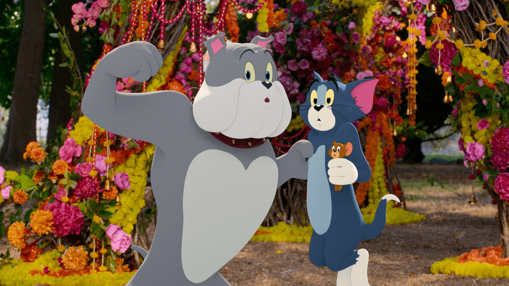 """BOBBY CANNAVALE as Spike with TOM and JERRY in Warner Bros. Pictures' animated/live-action adventure """"TOM AND JERRY,"""" a Warner Bros. Pictures release."""